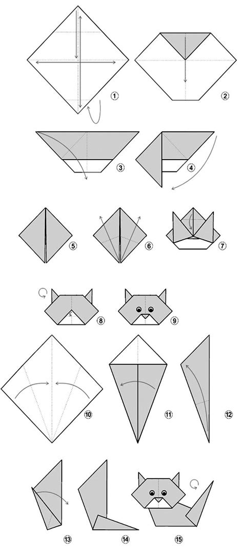 Easy Origami Cat - origami simple cat
