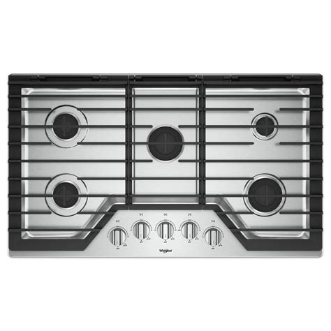 stainless steel cooktops whirlpool 36 in gas cooktop in stainless steel with 5