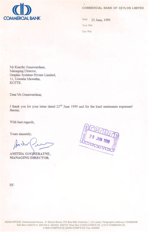Bank Of Ceylon Letterhead Clients Testimonials Graphic Systems Pvt Ltd