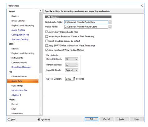 data section cakewalk sonar documentation file audio data