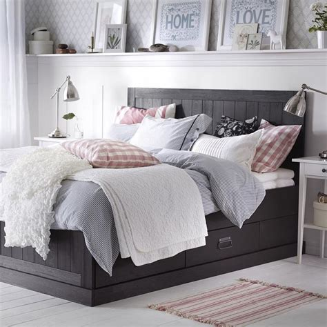 neutral bedroom  dark bedframe ikea farmhouse decor