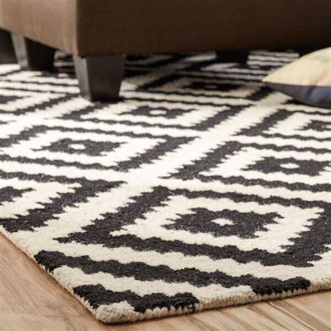 kelly black cream geometric wool hand tufted area rug