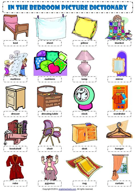word for bedroom vocabulary in the bedroom vocabulary