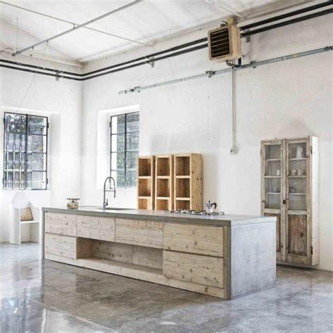 cuisine bois beton int 233 rieurs modernes en b 233 ton et bois une alliance