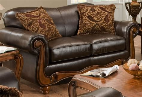 brown bonded leather traditional sofa loveseat set woptions