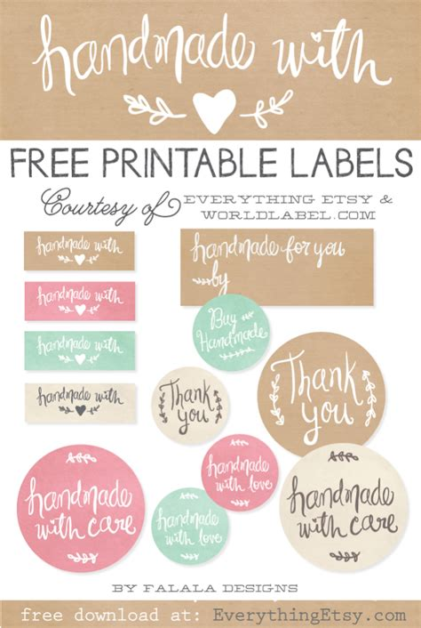 Handmade By Me Labels - free printable crochet gift labels everythingetsy