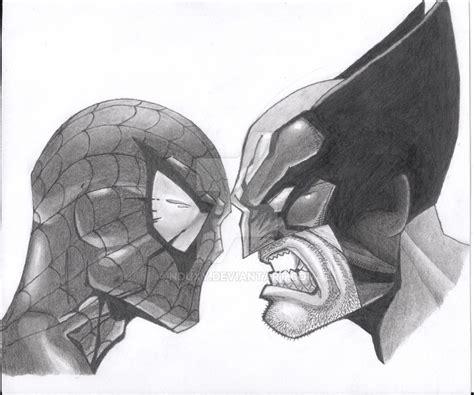 imagenes de wolverine en caricatura a lapiz spiderman vs wolverine by nduxy on deviantart