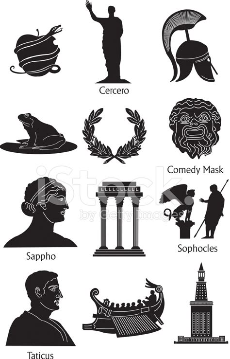 greek mythology icons stock vector freeimages com