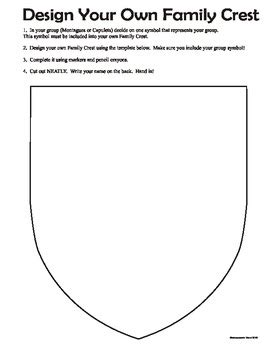 romeo and juliet family crest shield class building
