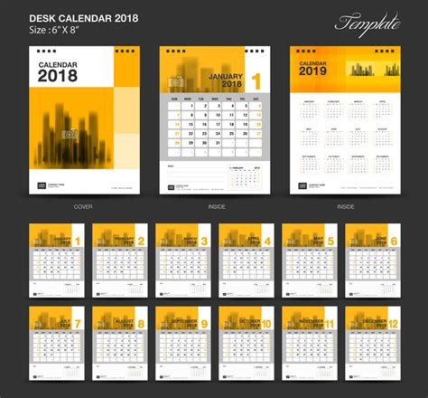 yellow desk calendar 2018 vector template vector