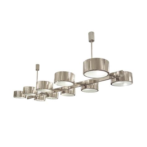Drum Shaped Chandeliers Rectilinear Polished Nickel Ceiling Fixture Composed Of Circular Drum Shaped Elements With Glass