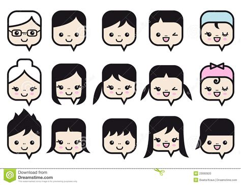 People Faces Vector Icon Set Stock Vector   Image: 23060920