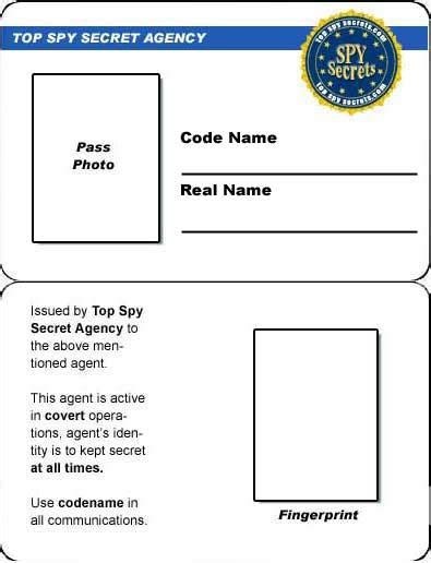 Credit Card Spy Id Card Printable Child Id Card Template
