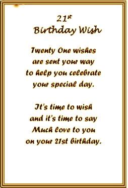 21 Yrs Birthday Quotes 21st Birthday Poems Verses4cards