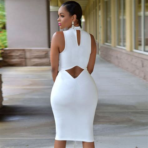 Ftnol White Lowback Dress All Size 2018 2018 summer sleeveless midi bodycon dress