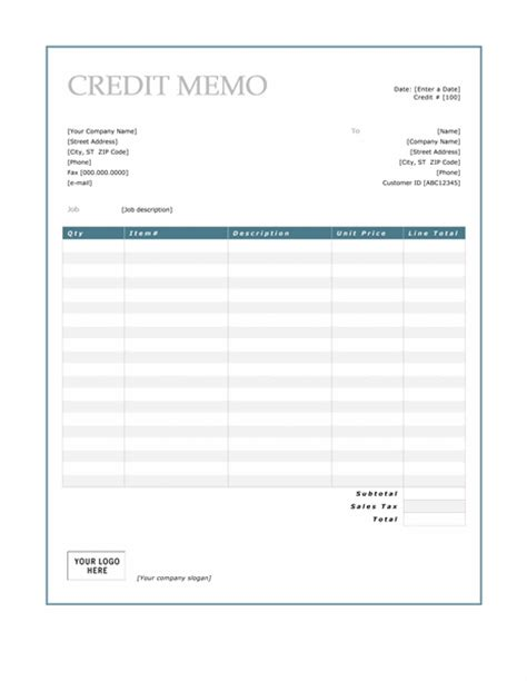 Credit Memo Template Xls Credit Note Microsoft Word Templates