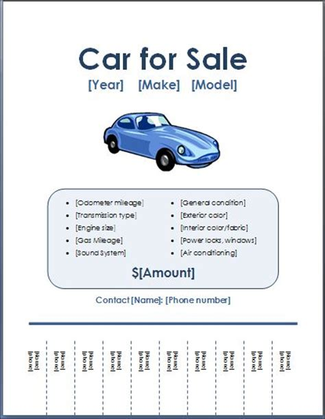 Sle Car For Sale Poster Flyer Template Formal Word Templates Car For Sale Flyer Template Free