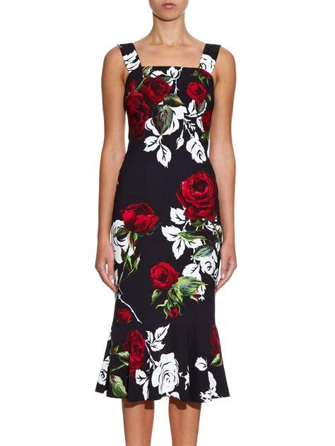 Dress Roses Black dolce gabbana fluted hem print dress in black lyst