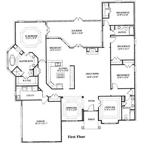 4 bed floor plans 4 bedroom ranch house plans 4 bedroom house plans modern
