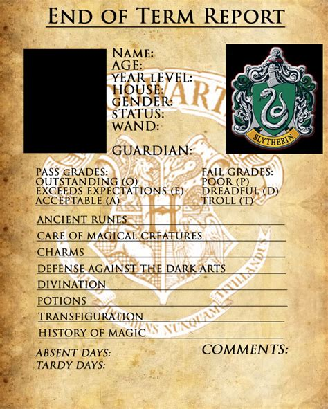 harry potter report card template slytherin report card by sarahsaintly on deviantart