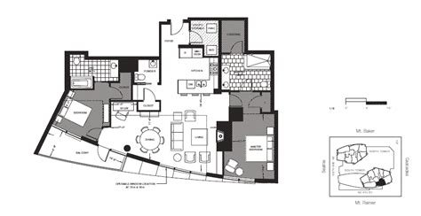 Insignia Seattle Floor Plans by 2 Bedroom For Rent South Facing At Bellevue Towers