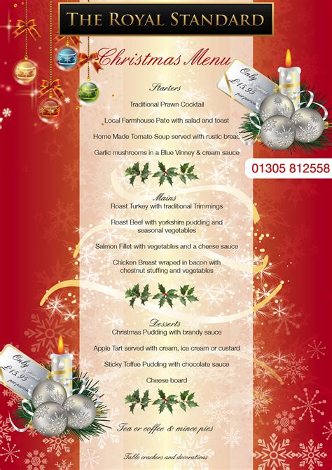 christmas menu brochures
