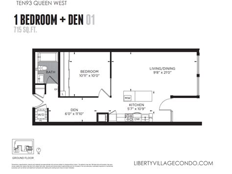 one bedroom and den ten93 queen west pre construction condo liberty village