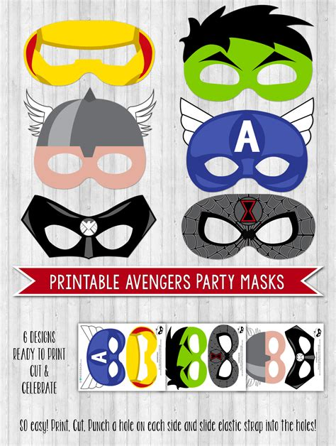 printable mask avengers avengers party printable decor pack wonderbash