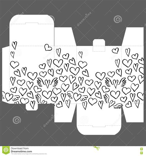 Gift Wedding Favor Die Box Design Template With Heart Pattern Stock Vector Image 74884231 Template Design Pattern
