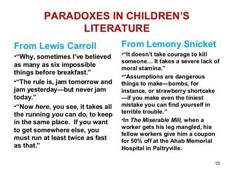 exle of paradox pics for gt paradox exles in literature