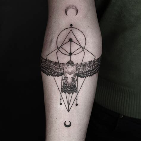 geometric tattoos that combine fine lines and nature
