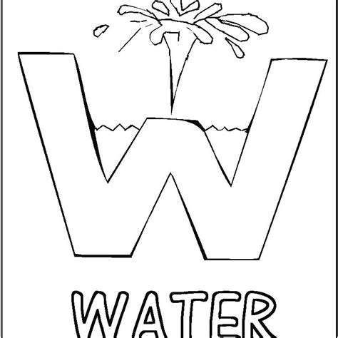 W Is For Water Coloring Page by Save Water Coloring Pages Ideasplataforma