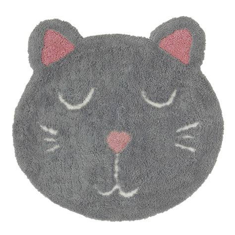 tappeto bambina tappeto bambino gatto grigio 80 x 80 cm mimichat maisons