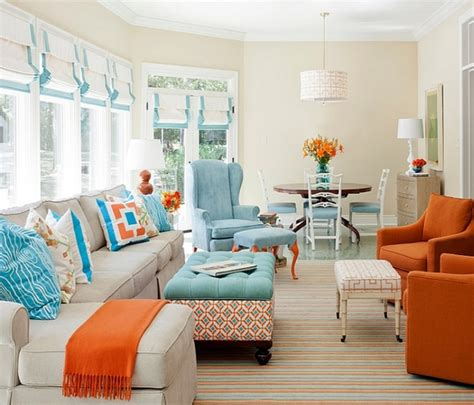 orange white and turquoise living room decor beach inspired throw pillows sunroom design images