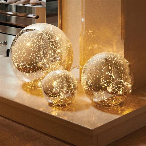 home decorative accessories uk 3 mercury glass ball lights set decorative accessories