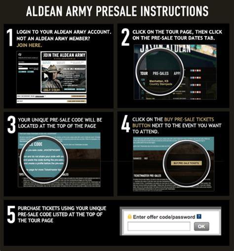 ticketmaster verified fan presale code aldean army presale password