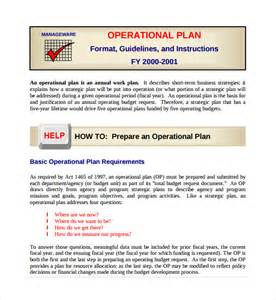 operations plan template sle operational plan template 9 free documents in