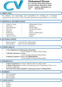 cv format for job in pakistan online writing lab