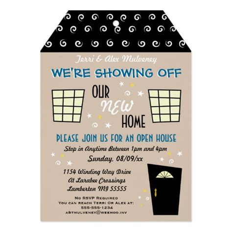 whimsical tag cut open house invitation zazzle