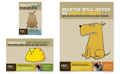 animal shelter pet adoption flyer ad template design