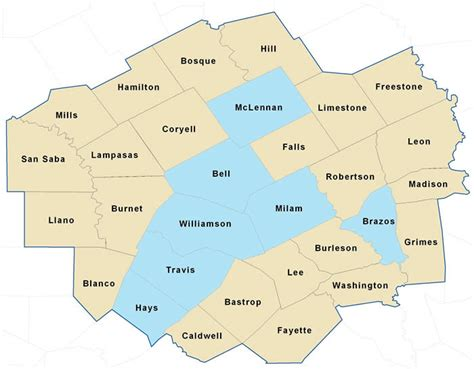 central texas counties map region 7 home page