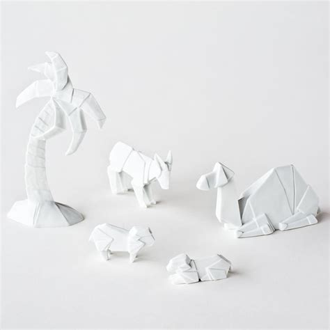 Porcelain Origami Nativity Set - origami nativity figures glazed porcelain camel