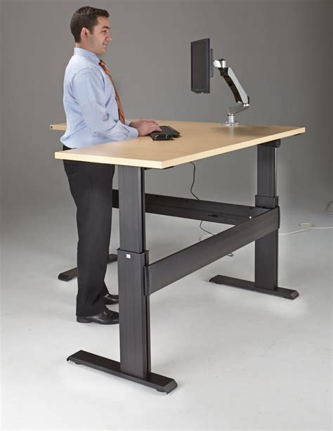 Electric Sit Stand Computer Desk by Newheights Eficiente Lt Series L Shaped Electric Sit