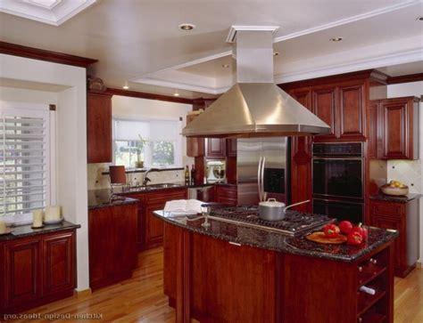 Mahogany Wood Kitchen Cabinets Cream Granite Kitchen