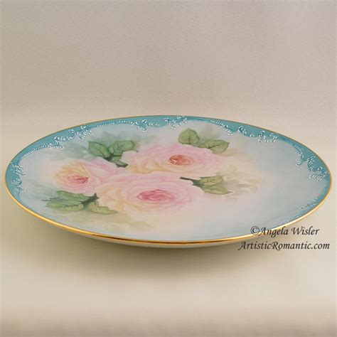 china cabinet plate painted pink roses aqua