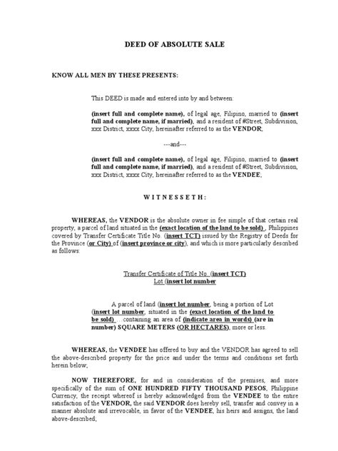 deed of sale template deed of absolute sale a sle