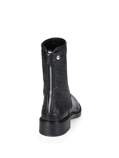 black gucci boots for gucci gg leather ankle boots in black lyst