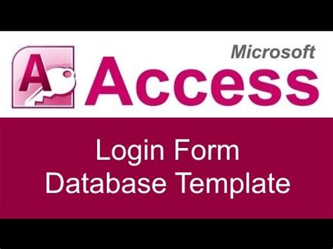 Microsoft Access Login Form Database Template Youtube Microsoft Access Login Form Template