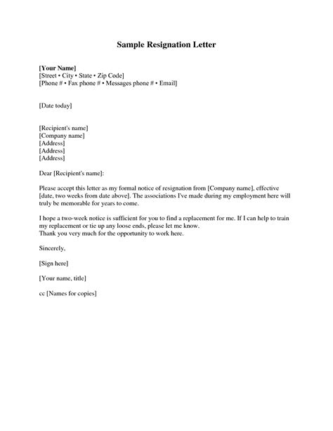 Resignation Letter And Two Weeks Notice Exles Of Two Week Notice Letters