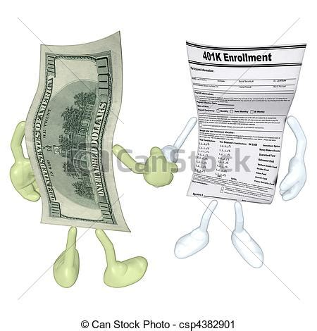 Drawing 401k by Clipart Of Money 401k Form Handshake A Concept And